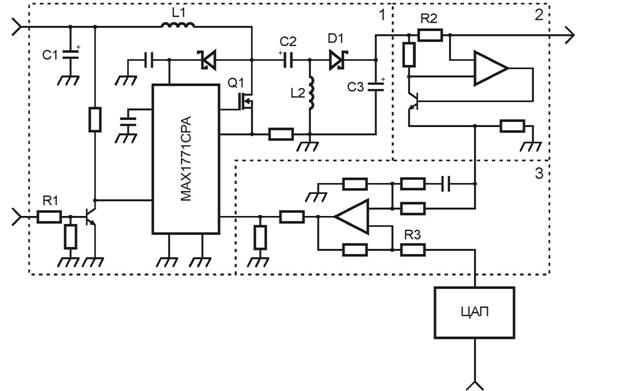 Рис. 2. Электрическая схема управляемого регулируемого источника тока.